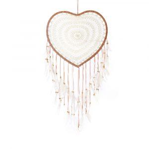 Herz Traumfänger weiß braun Crochet Heart Dreamcatcher white brown Bazar Bizar
