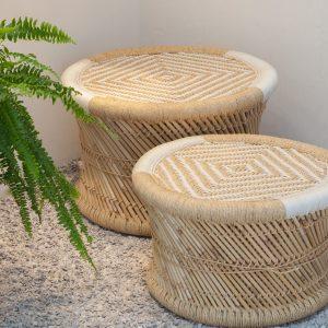 Bambus Hocker Set Mudda XL white Beistelltische Zenza