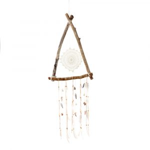 Großer Dreieck Traumfänger Dreamcatcher Triangle Wood-Chrochet white Bazar Bizar
