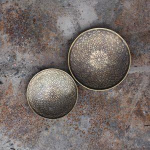 Itu Etched Iron Dish Antique Brass - Schale antik indisches Muster Nkuku