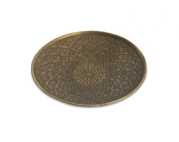 Itu Etched Iron Dish Antique Brass large - Schale antik indisches Muster Nkuku