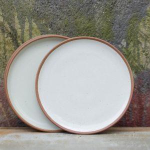 Mali ceramic dinner plate white-terracotta Fair Trade Teller groß weiß Nkuku