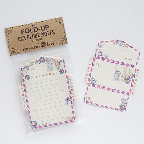 Envelope Notes Flowers faltbare Notizen 20 Umschläge Blumen Stempel Natural Life
