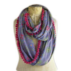 Indie Print Scarf - Loop Schal Boho Hippie grau-gelb-pink Natural Life