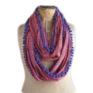 Indie Print Scarf - Loop Schal Boho Hippie rot-lila-blau Natural Life