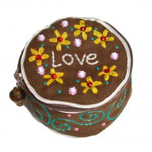 Etui Love Schmuck Tasche rund bestickt Jewelry round Natural Life