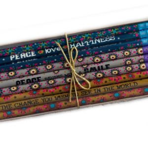 Bleistifte Set Peace Love Happiness bunte Sprüche Words Pencils Natural Life