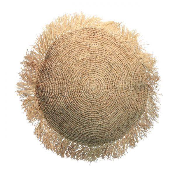 Großes Boho Kissen Bast Sitzkissen 60 cm Raffia Cushion Bazar Bizar