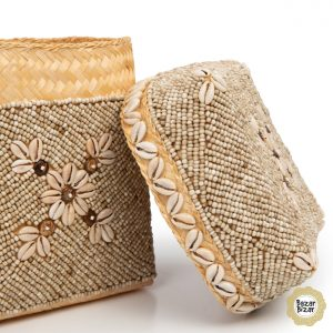 3er Set Boxen Perlen Blumen Körbe Bambus natur braun Bazar Bizar