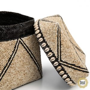 3er Set Boxen Perlen Zacken-Muster Körbe Bambus natur braun Bazar Bizar
