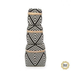 3er Set Boxen Perlen Streifen Körbe Bambus schwarz weiß Bazar Bizar