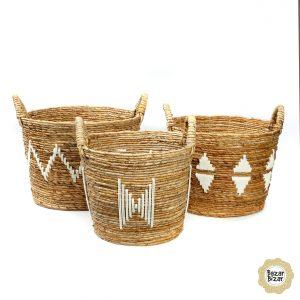 3er Set Bananenblätter Körbe Boho - Banana Stitched Baskets Bazar Bizar