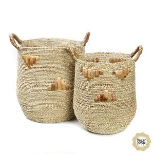 2er Set Seegras Körbe Boho Grafik-Design Chubby Graphic Basket Set Bazar Bizar