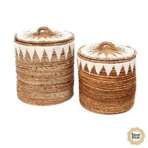 2er Set Boho Körbe aus Bananenblättern handgewebt Bazar Bizar