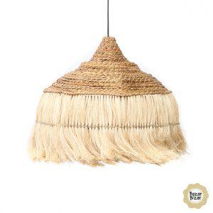 Abaca Hoola Hängelampe natur Trockengras Boho Lampe Bazar Bizar