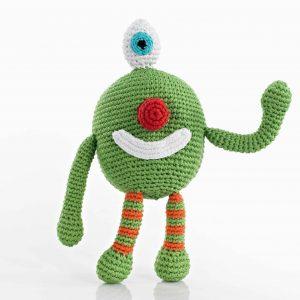 Pebble Häkel Monster grün Rassel